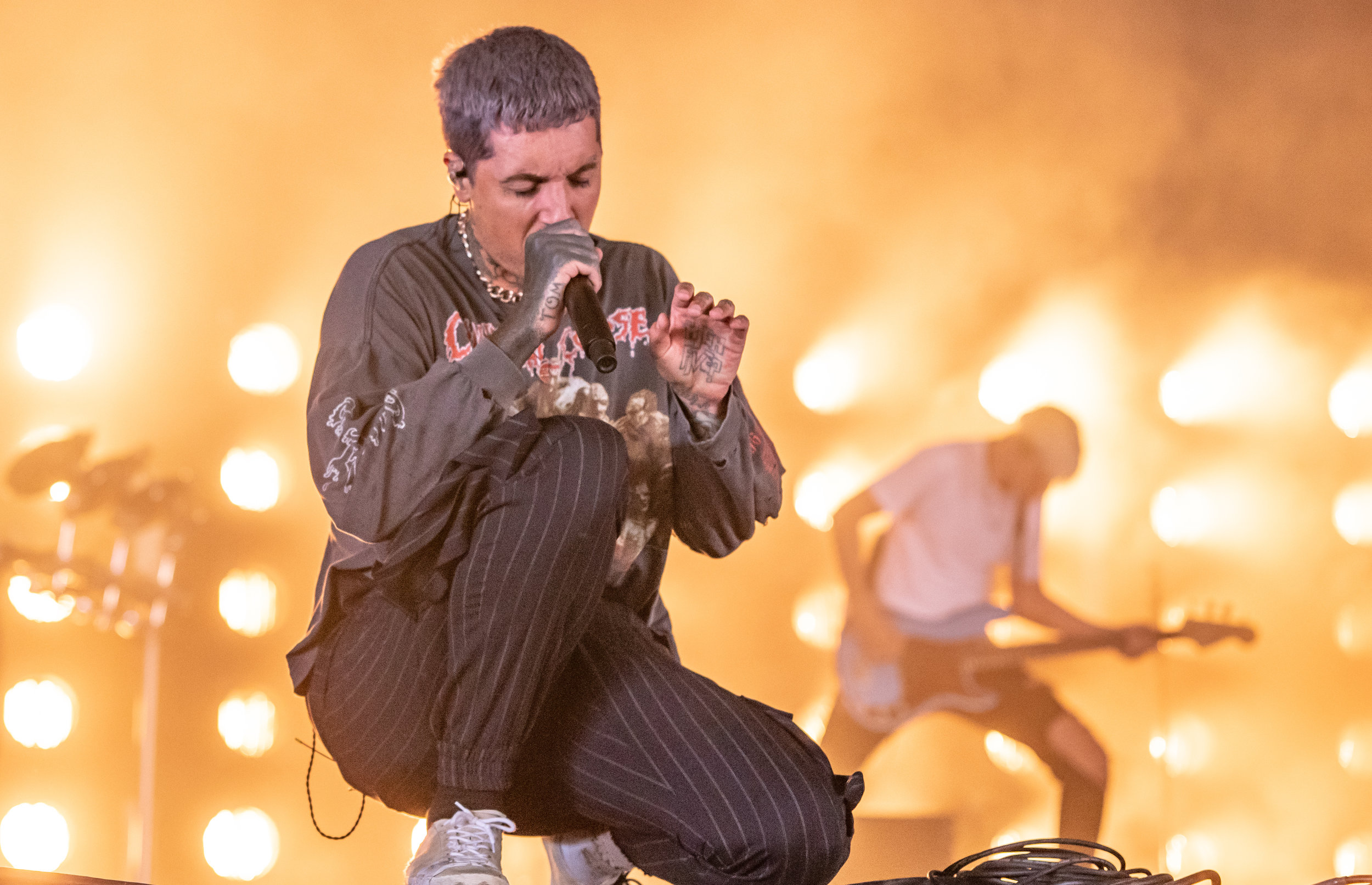 BRING ME THE HORIZON PERFORMING AS SECRET GUESTS OVER ON BBC RADIO 1 STAGE AT SECOND DAY OF LEEDS FESTIVAL 2018 - 25.08.2018  PICTURE BY: CALUM BUCHAN PHOTOGRAPHY