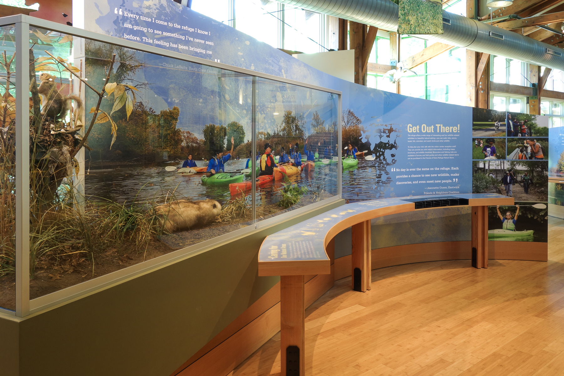 This faux wildlife display demonstrates how visitors can experience nature on the refuge.