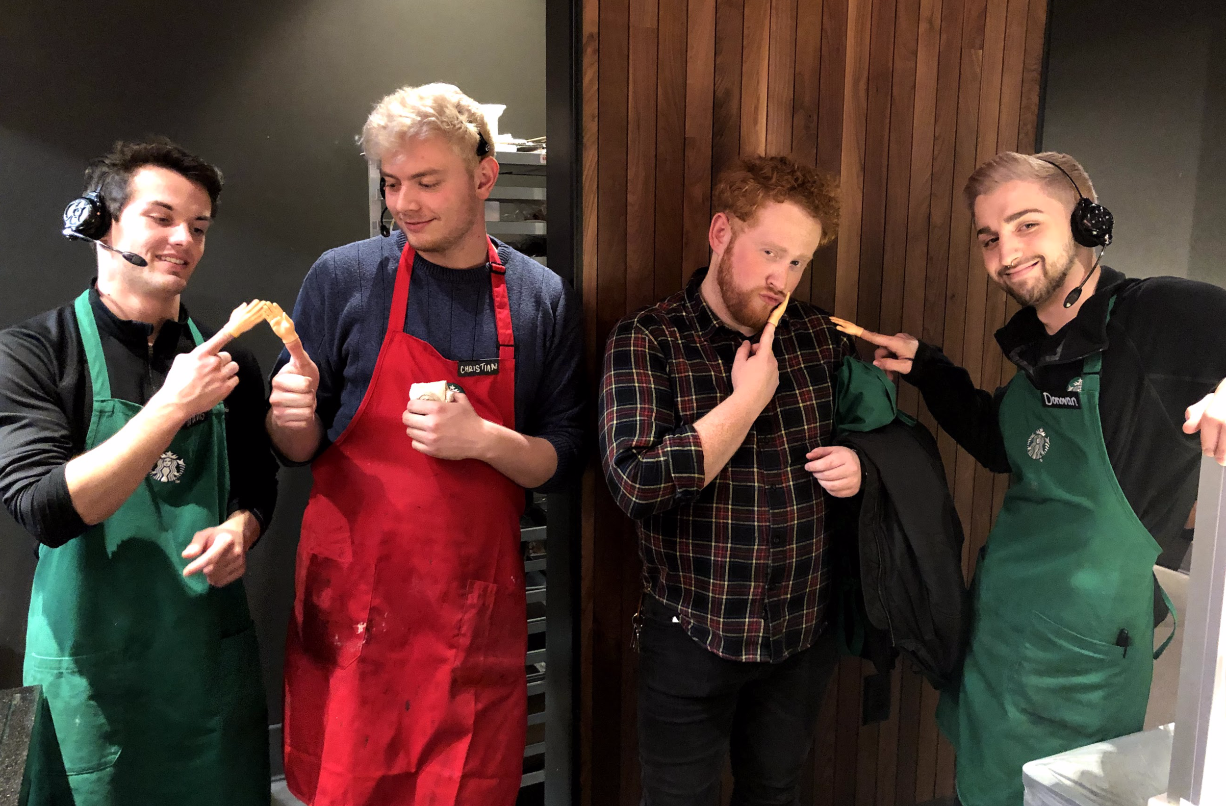The Portage, Westnedge Ave Starbuck's (Male) baristas. Dec. 2018