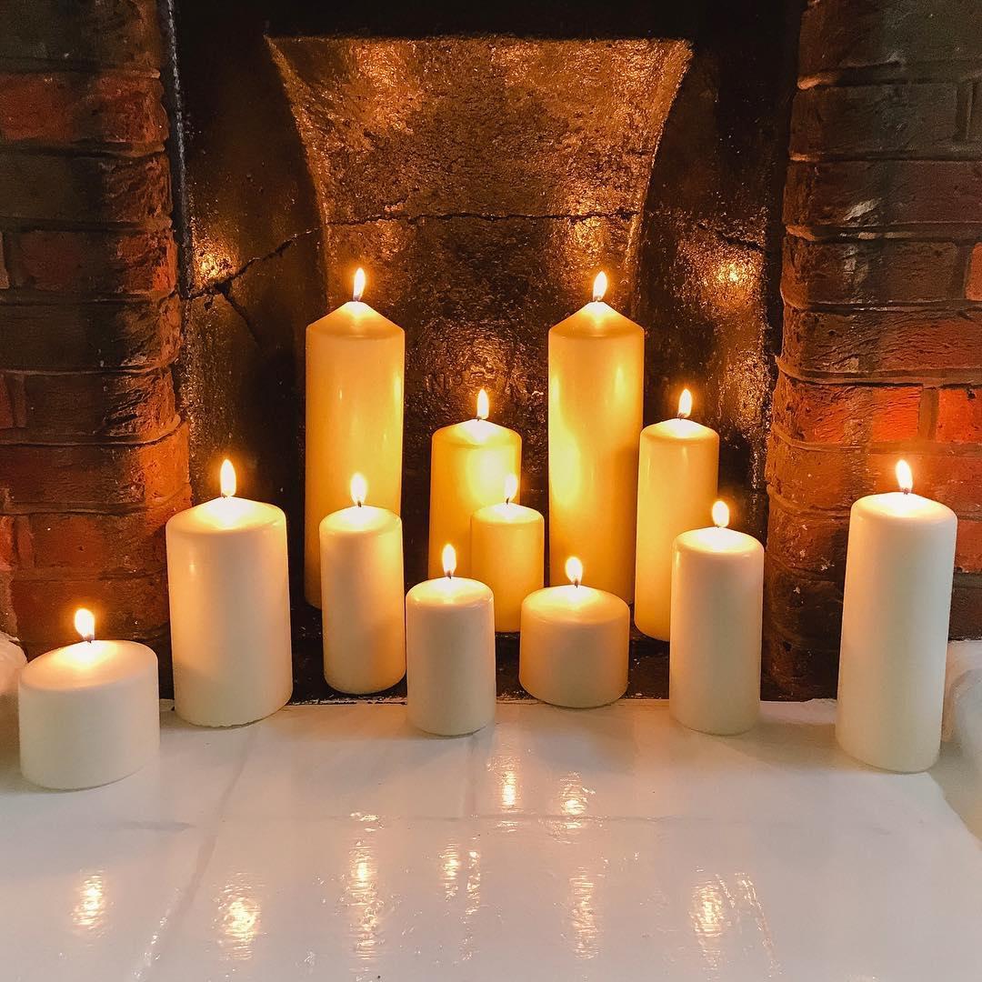 ikea-pillar-candles-fireplace