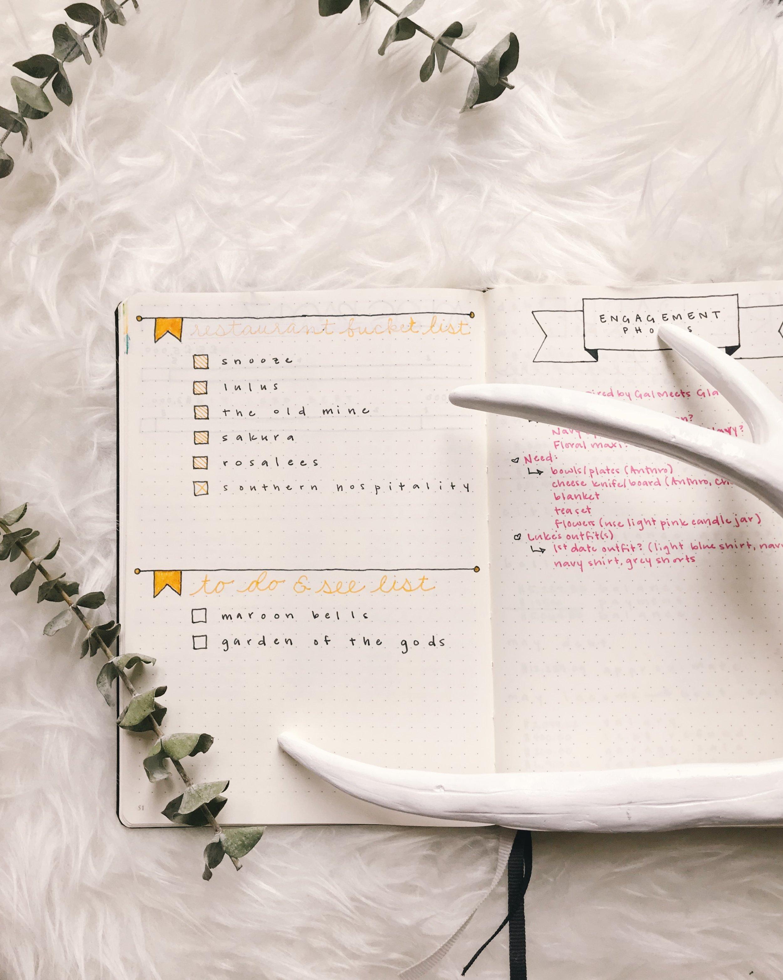 Bullet Journal Bucket List