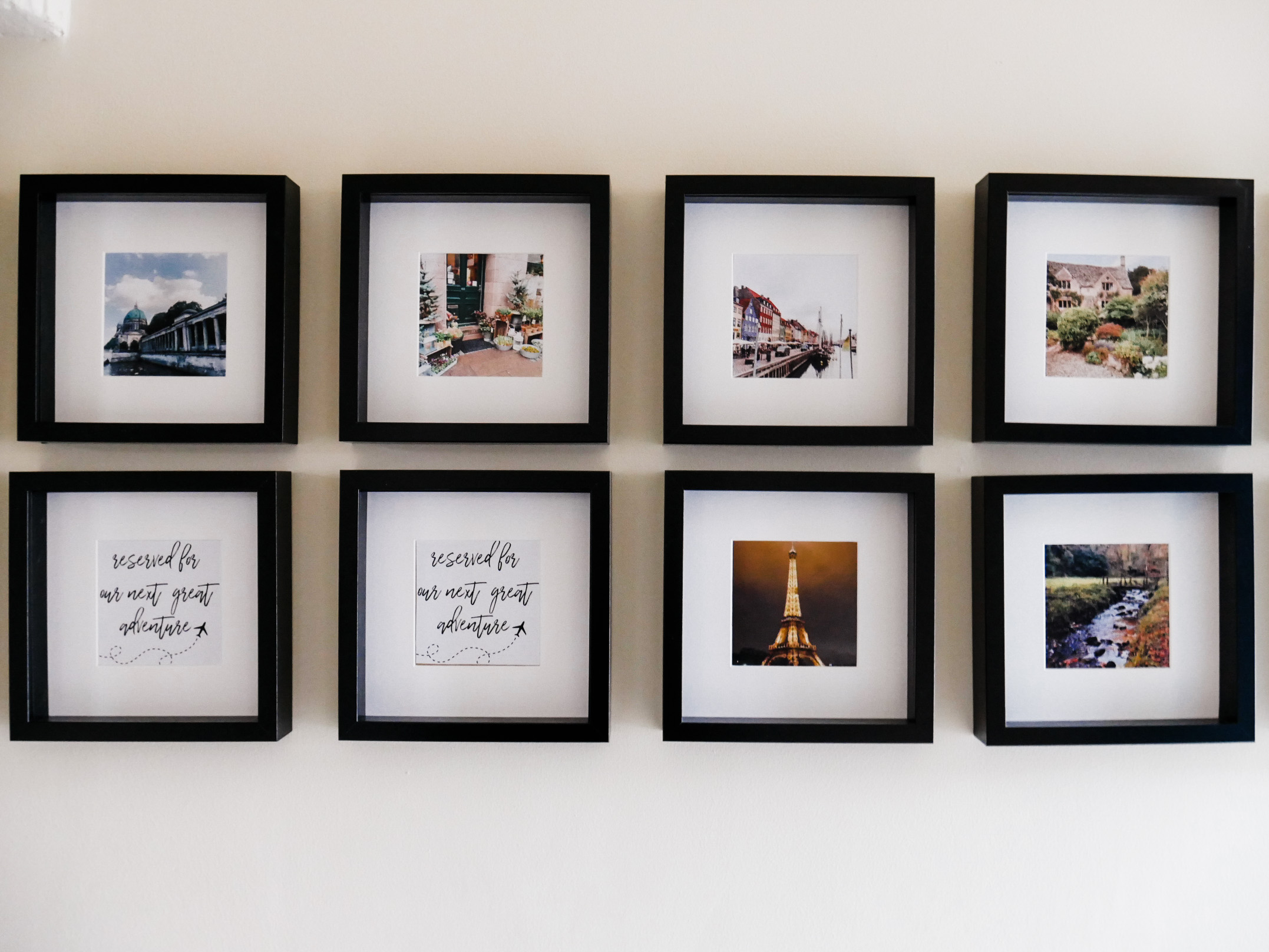 Home Tour - Gallery wall of photos from every country we've visited together