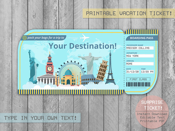 Traditional First Anniversary Paper Gift Ideas - Boarding Pass