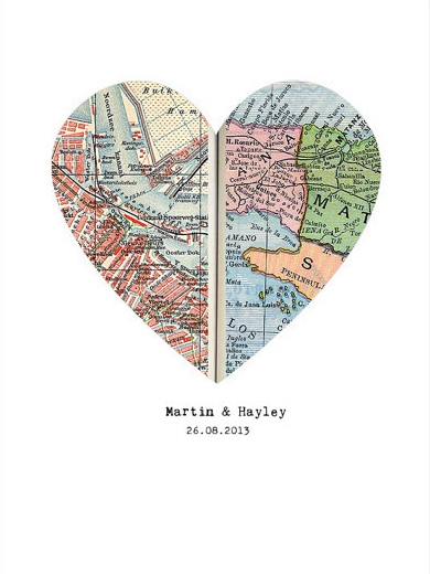 Traditional First Anniversary Paper Gift Ideas - Map Hearts