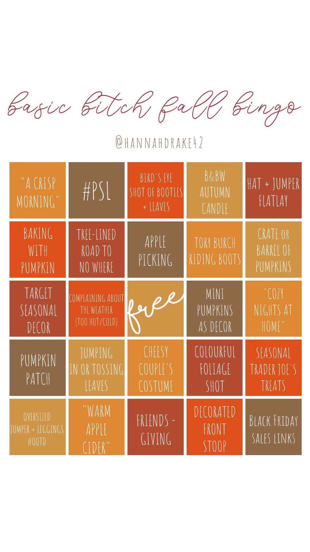 Basic Bitch Fall Bingo Instagram Stories @HannahDrake42
