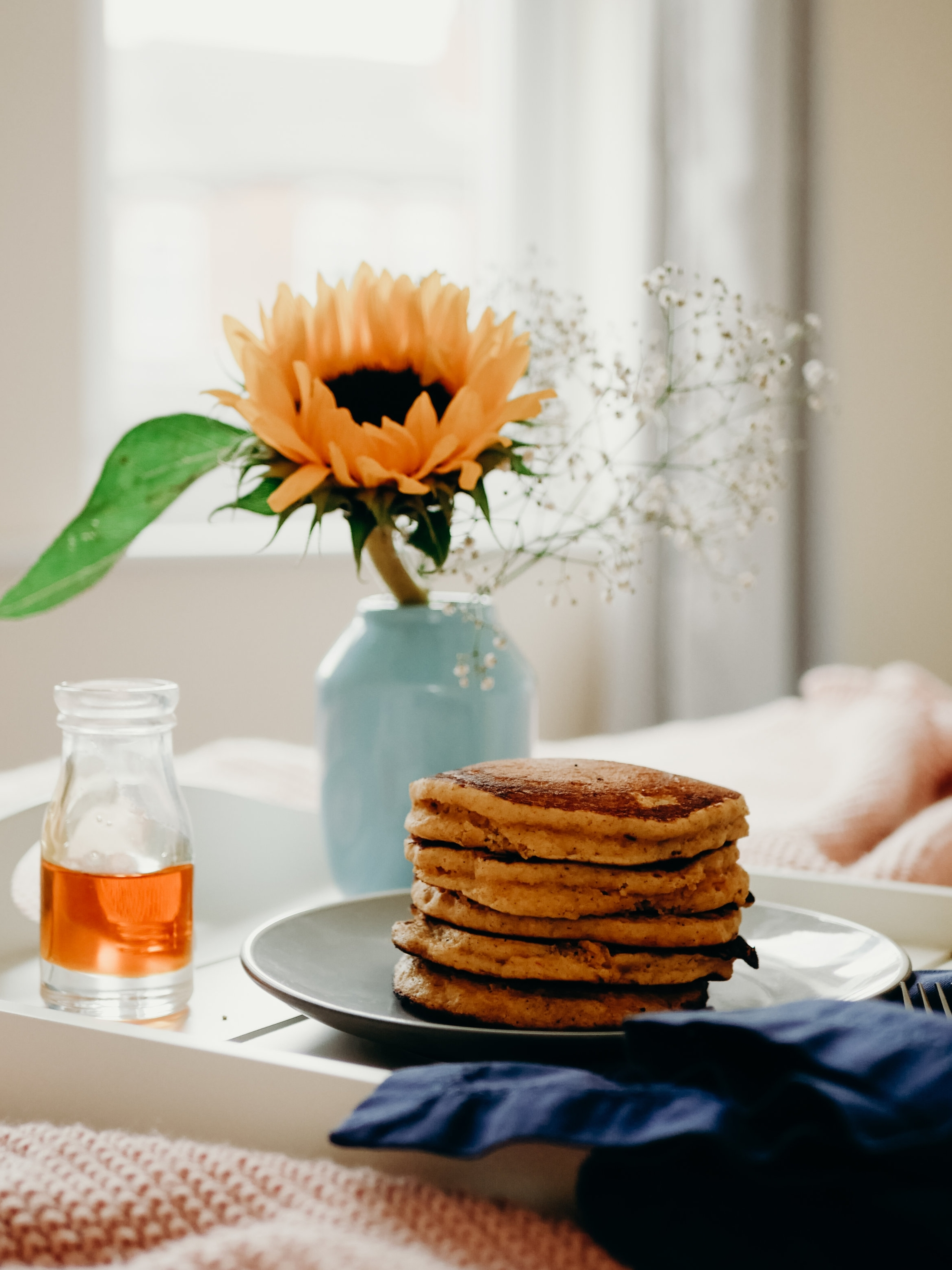 Breakfast in Bed with Trader Joe's Pumpkin Pancakes