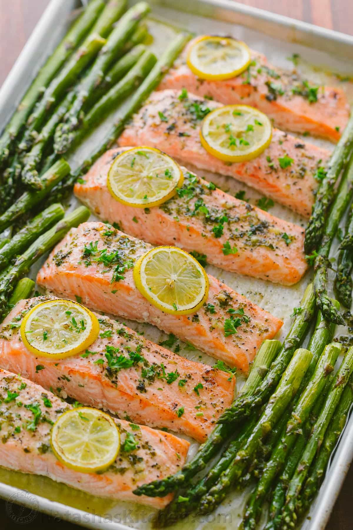 SALMON, ASPARAGUS, & BROCCOLINI - We probably have this meal more often than anything else. The grocery store near our house as a great deal for packs of 2 salmon filets (3 for £10). It's just too easy and too refreshing to resist. We cook the salmon at 200°C for about 20 minutes with lemon, salt, pepper, and sometimes dill. We do the vegetables on the stovetop with oil or butter, lemon, salt, and pepper. It's great all year, but it's also the perfect al fresco dinner in the summertime.