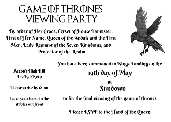 Game of Thrones Viewing Party Invitation