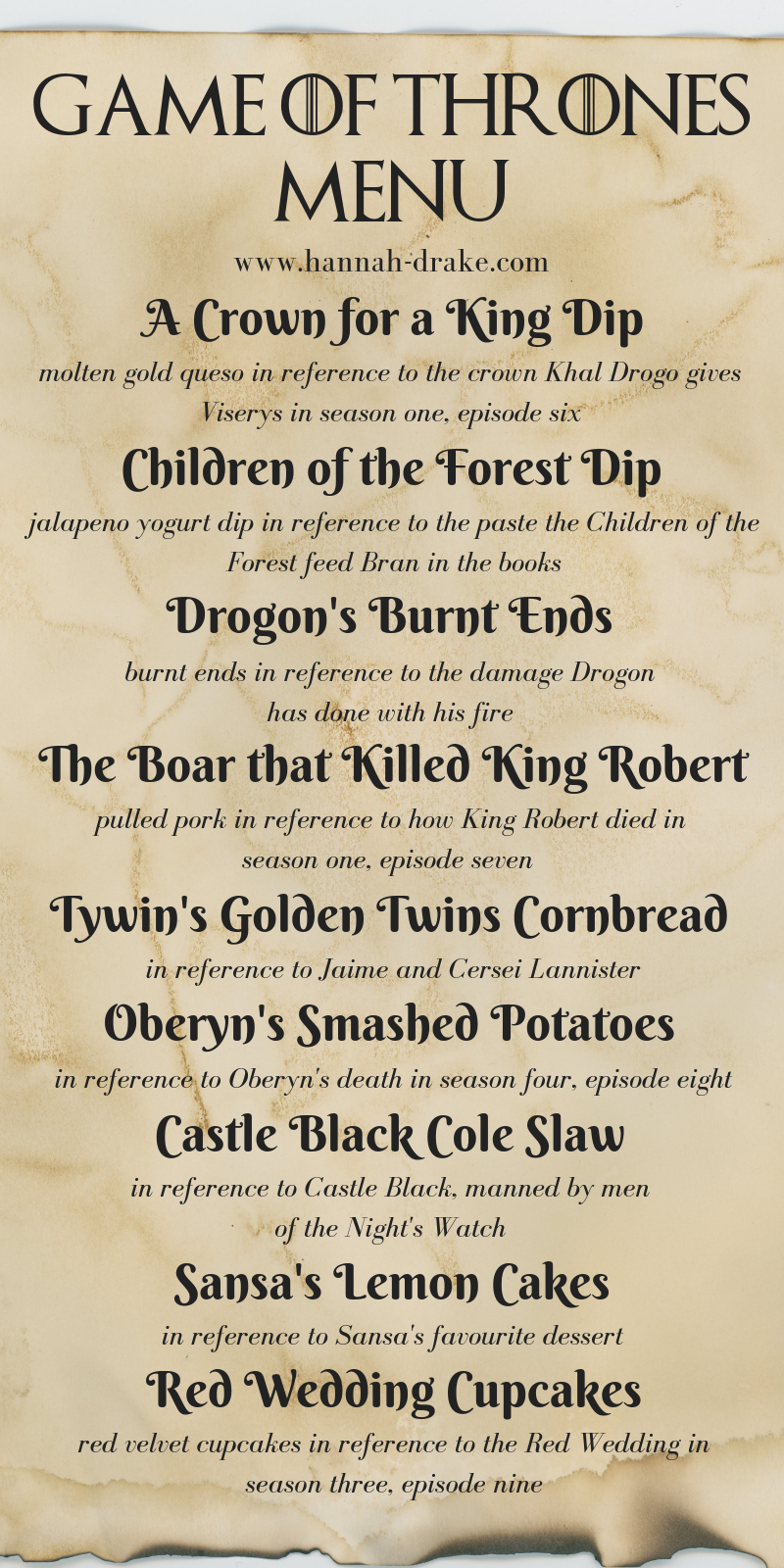 Game of Thrones Party Menu