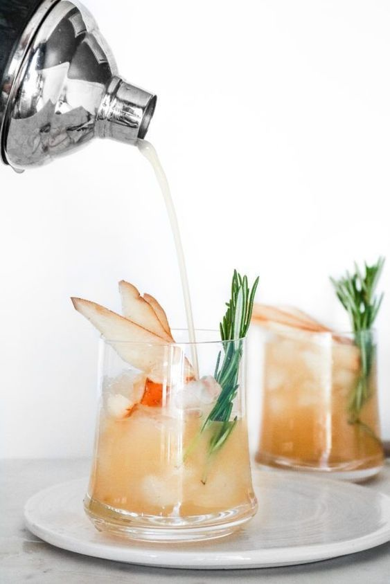 Pear Vanilla Rosemary Cocktail from Peaches 2 Peaches