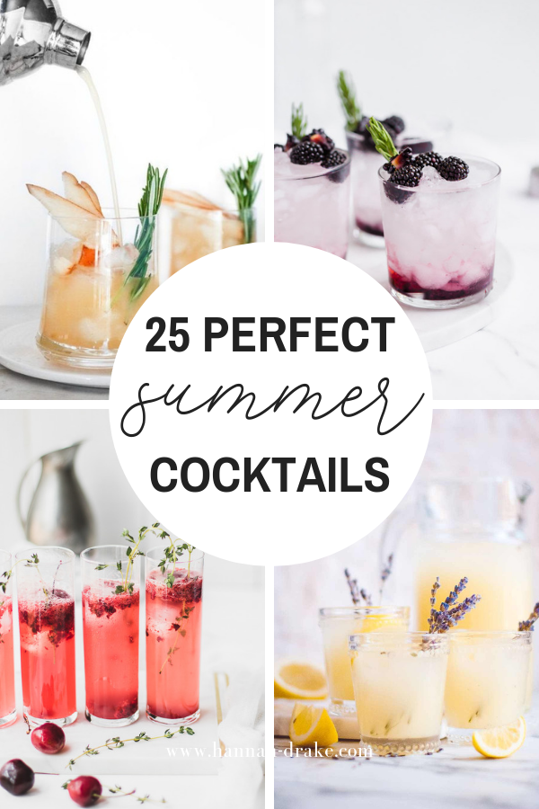"- I shared this post during our ""dry June"" and during a week of absolute crap summer weather, but that didn't stop you for coming out for it! Of the 25 cocktails on this list, I've made the Limoncello Prosecco, the Cardamom Coconut Gin Fizz, and the Lavender Lemonade Cocktail. I can't wait to try more, especially the cocktails with florals! (I'm super into floral flavours—rose, lavender, elderflower, etc—right now!) Or try my new Red, White, and Blue Raspberry Lemonade cocktail, which wasn't included on the list, but is perfect for the Fourth of July!"