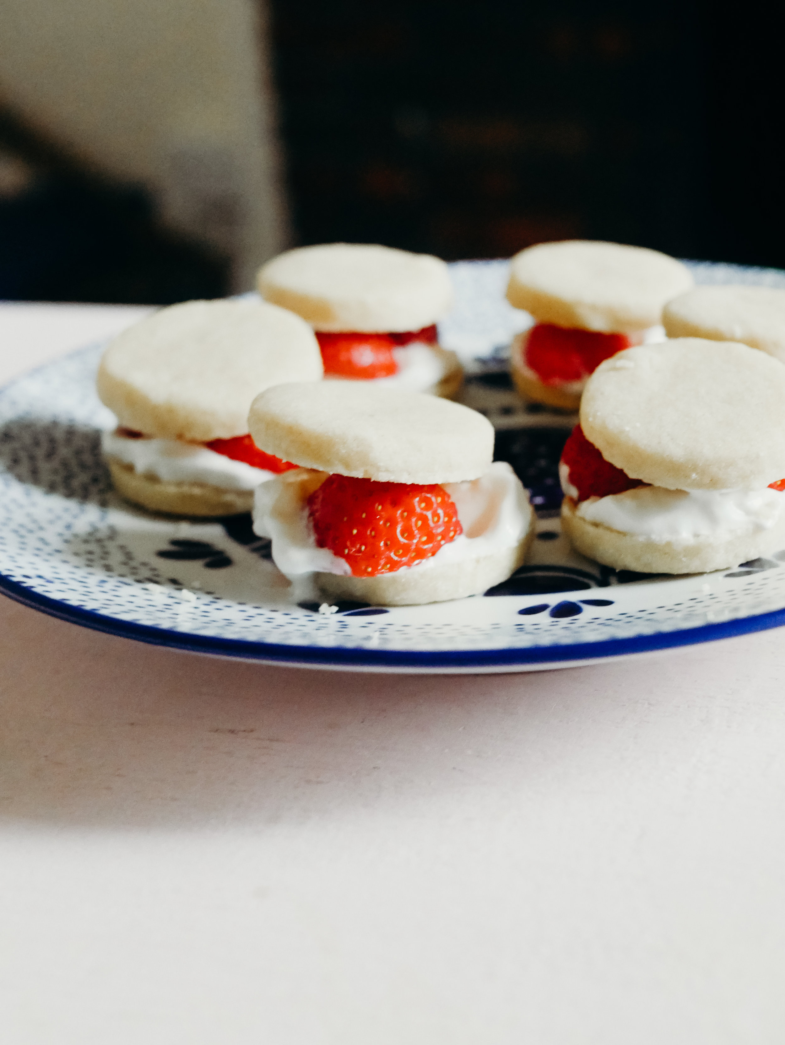 STRAWBERRIES & CREAM SHORTBREAD SANDWICHES - Luke whipped up these little shortbread cookies with this own 3-2-1 recipe of flour, butter, and sugar. (He used 150g of flour.) He filled them with whipped cream and sliced strawberries. They were delicious and so cute!