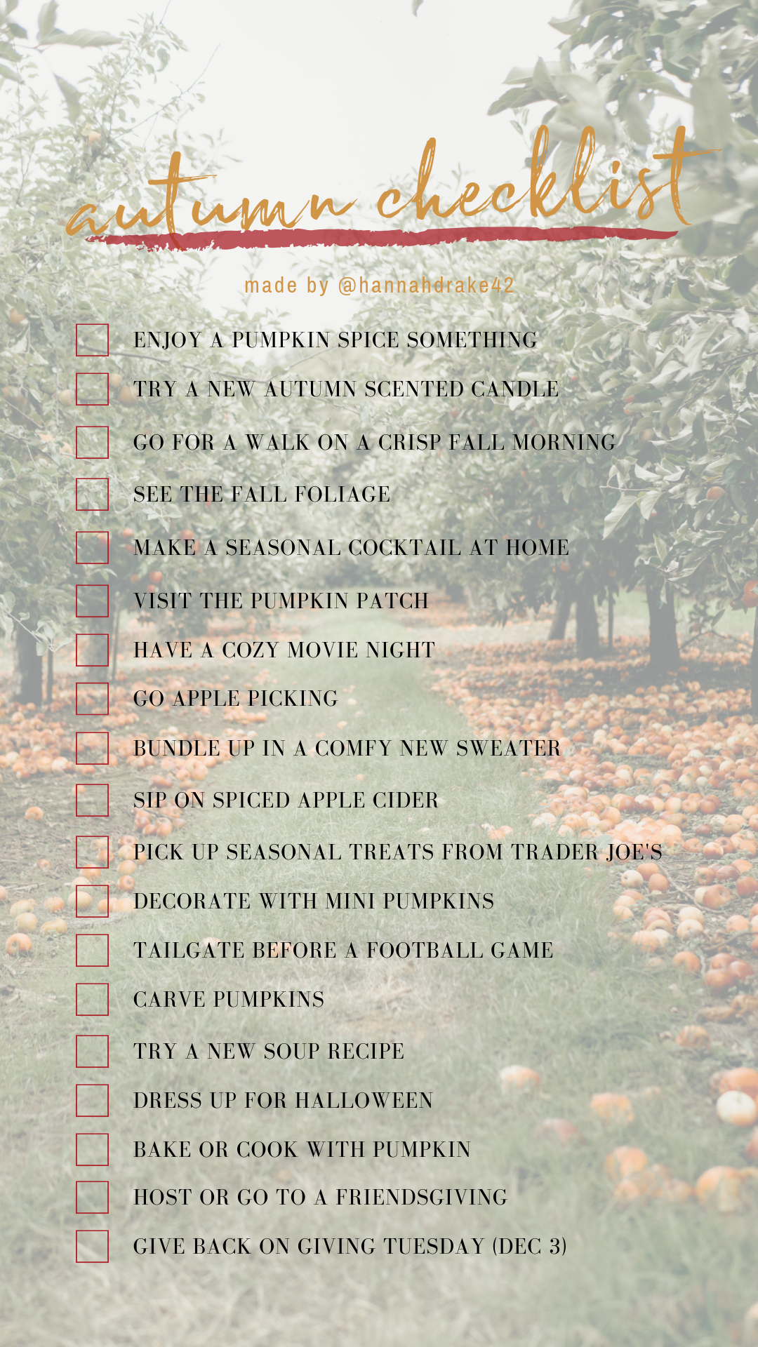 Autumn Checklist by @hannahdrake42