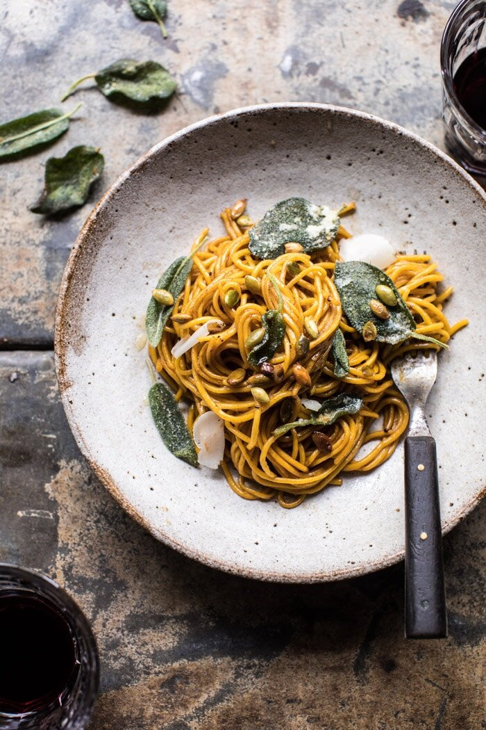 Pumpkin Pasta with Balsamic Sage Brown Butter Sauce from Half Baked Harvest