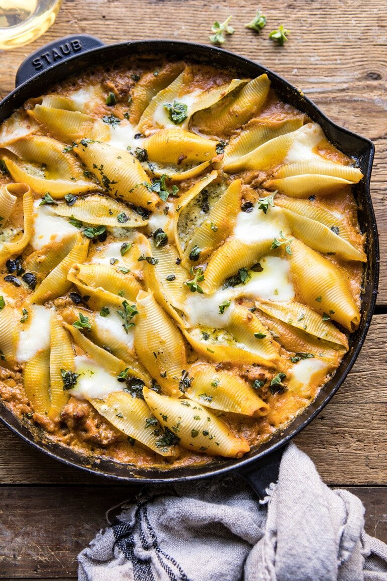 Spicy Pumpkin and Pesto Cheese Stuffed Shells from Half Baked Harvest