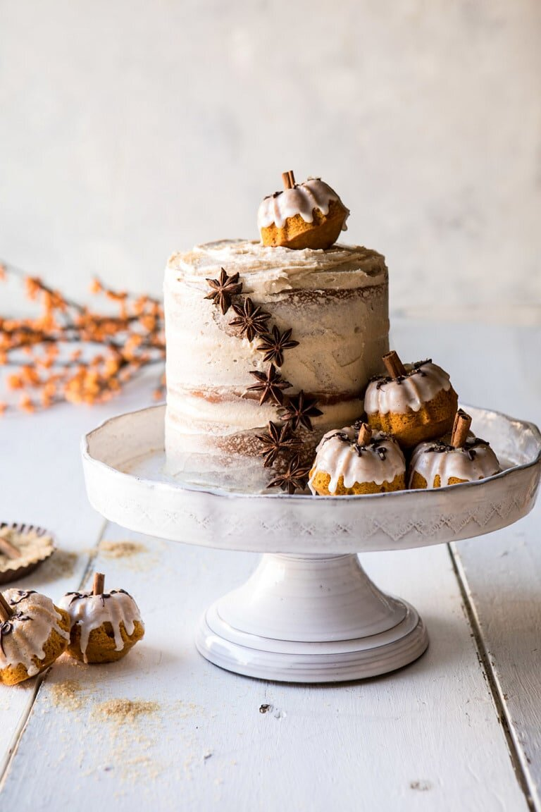 Chai Pumpkin Cake with Maple Browned Butter Frosting from Half Baked Harvest