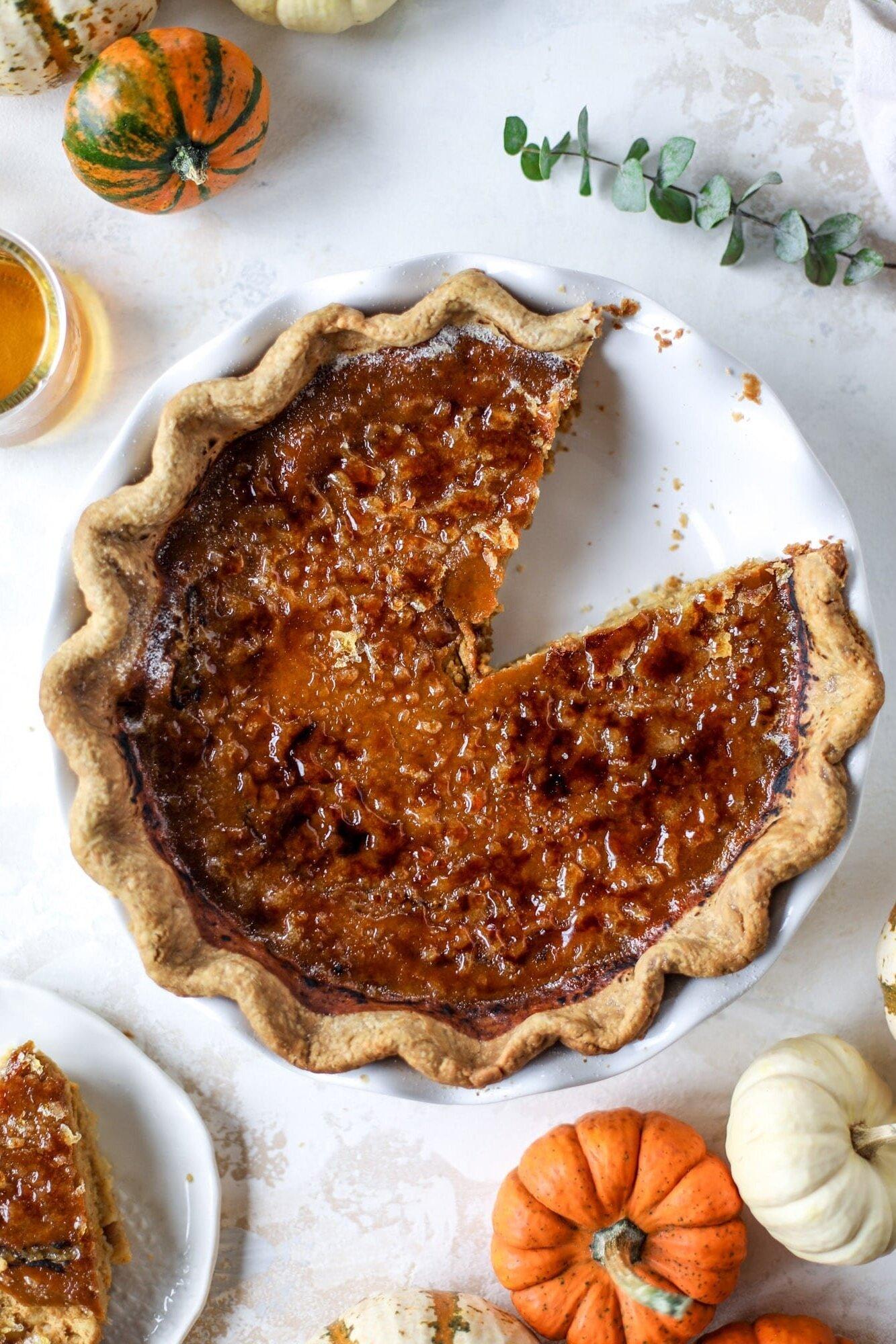 Bourbon Brulee Pumpkin Pie from How Sweet Eats
