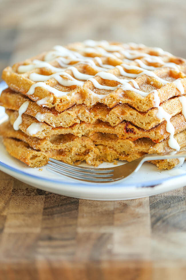 Pumpkin Churro Waffles from Damn Delicious