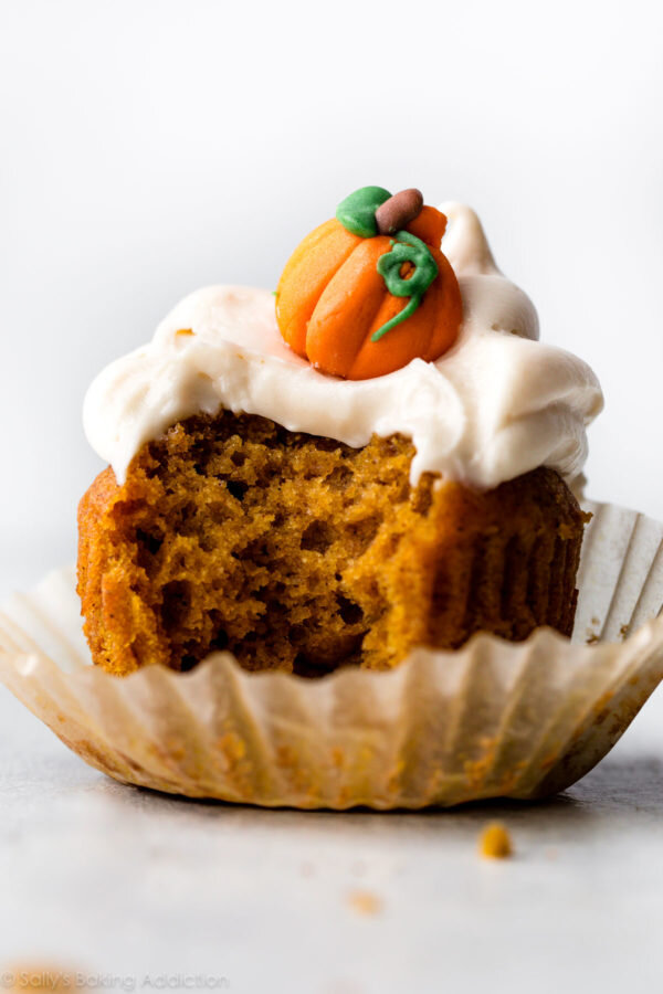 Pumpkin Cupcakes with Cream Cheese Frosting from Sally's Baking Addiction