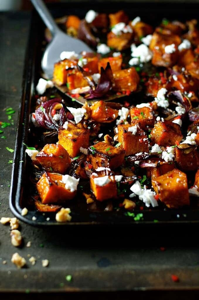 Roasted Pumpkin with Maple, Chili and Feta from RecipeTinEats