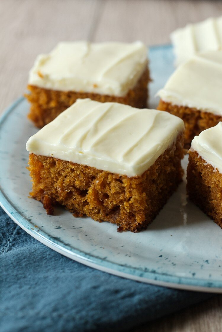 Pumpkin Bars with Cream Cheese Frosting from Chocolate with Grace