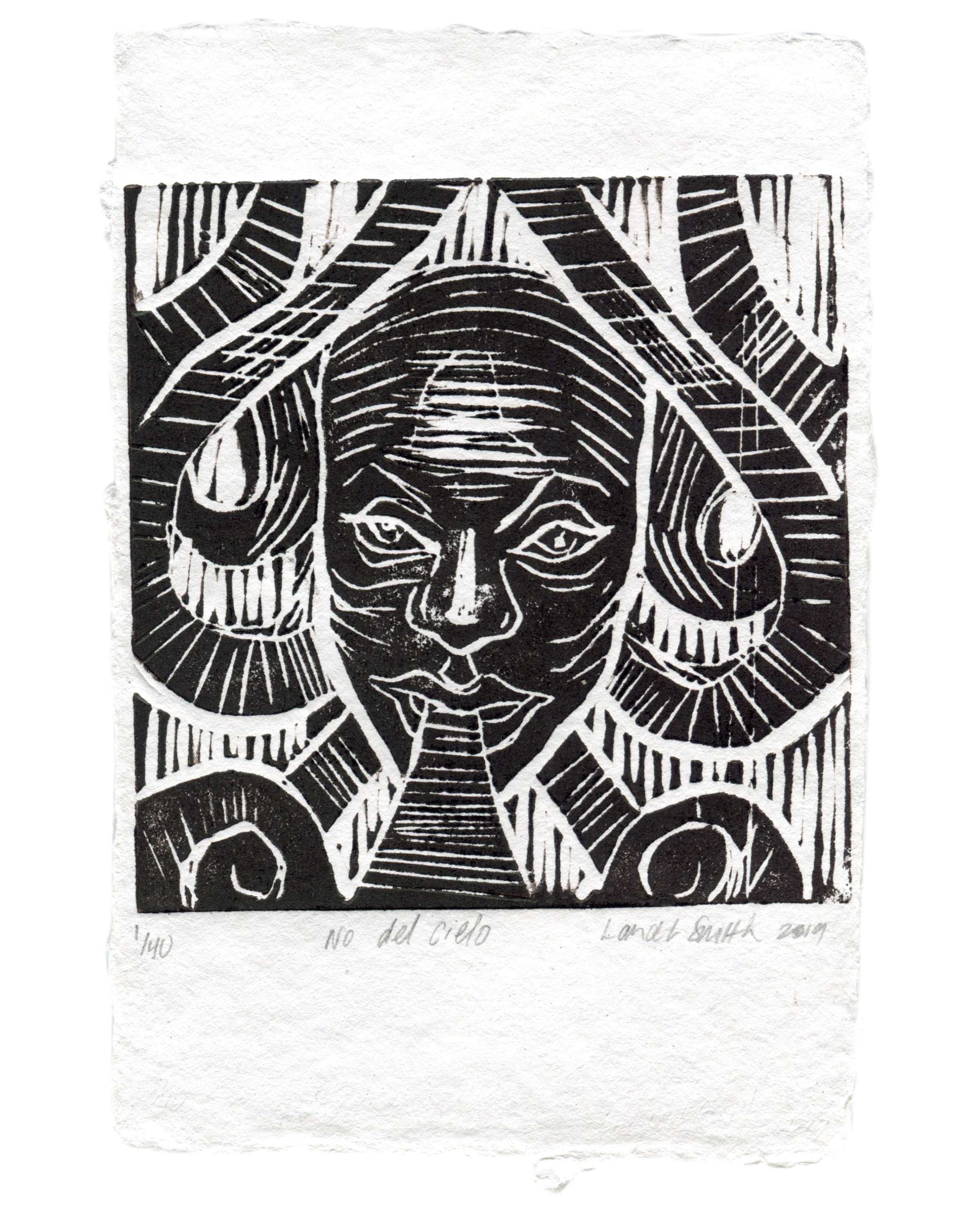 NO DEL CIELO  Hand-pressed Linocut on Handmade Paper  Edition of 40  2019