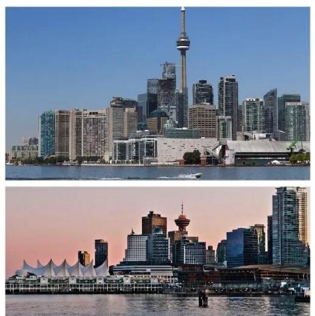 Toronto, Ontario (top) and Vancouver, British Columbia (bottom)