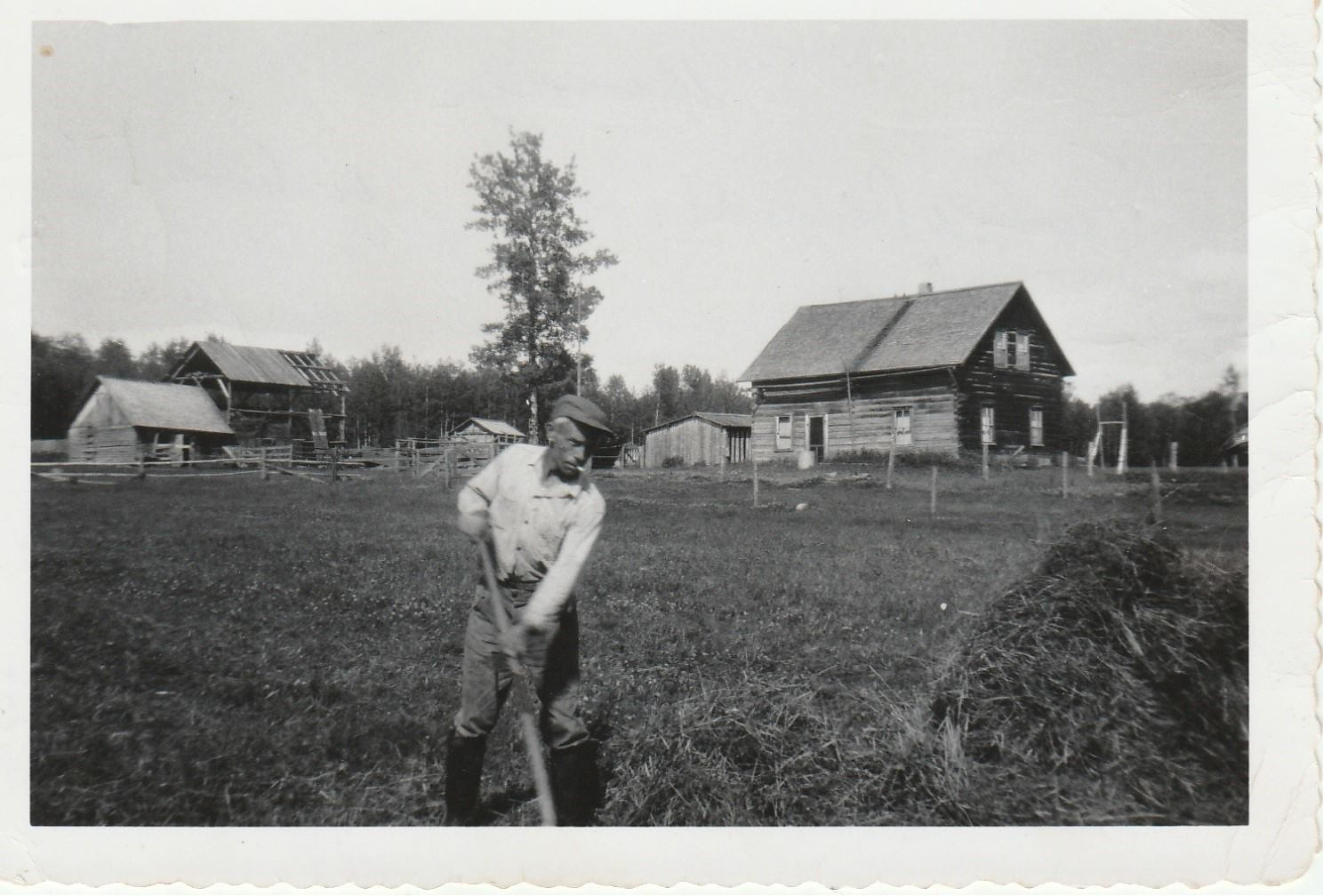 a happy uncle Jan, the first Smid to emigrate  on his farm property in Alberta Canada