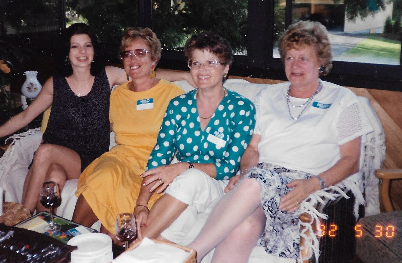 Anne in polka dots with Rita Heida (right)