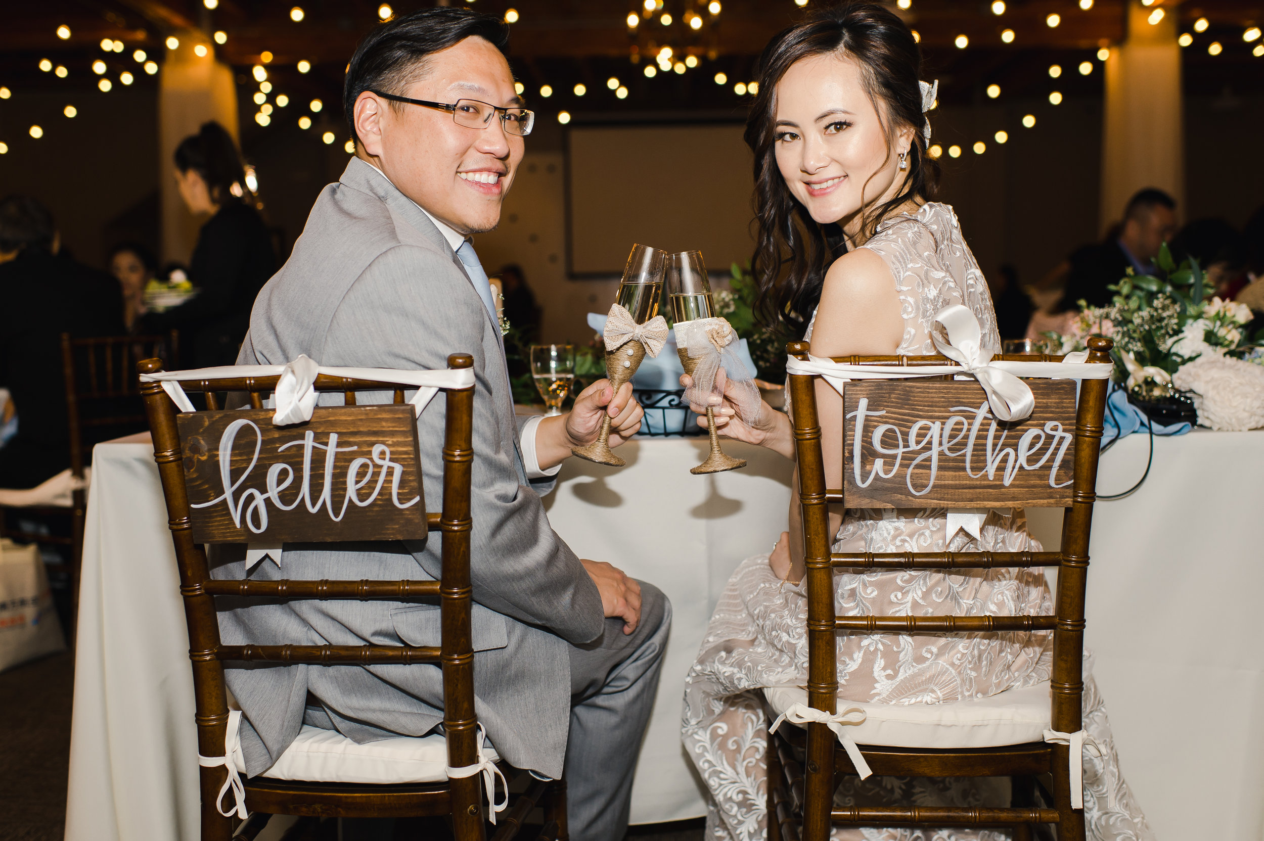 Collin + Joanna having their first toast together at Strawberry Farms Golf Course on their wedding day.