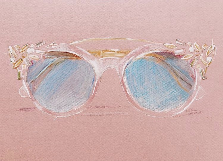 Painting of Miu Miu sunglasses by Jeanette Getrost.