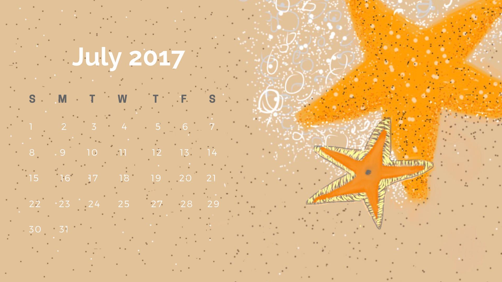 Starfish Calendar July 2017