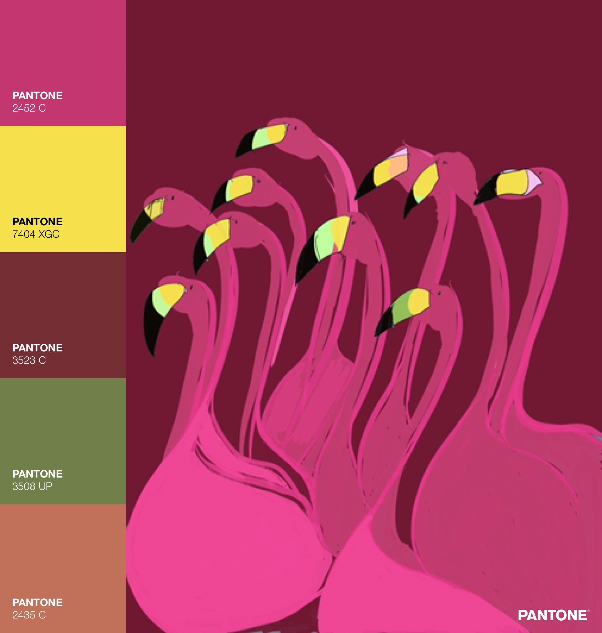 Flamingo Hang Out, Painting via Procreate App