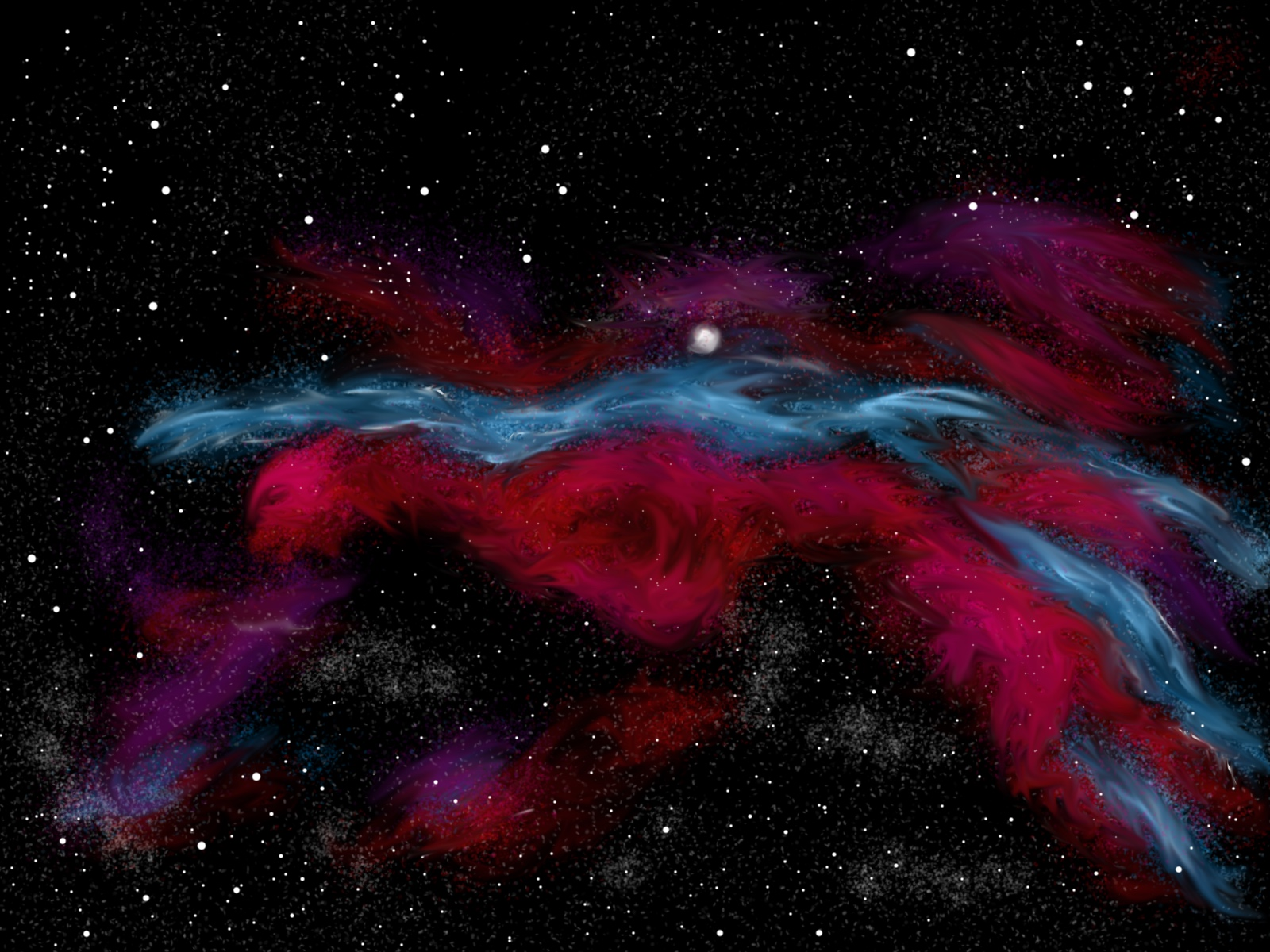 Horizontal Red and Blue Nebula Painting