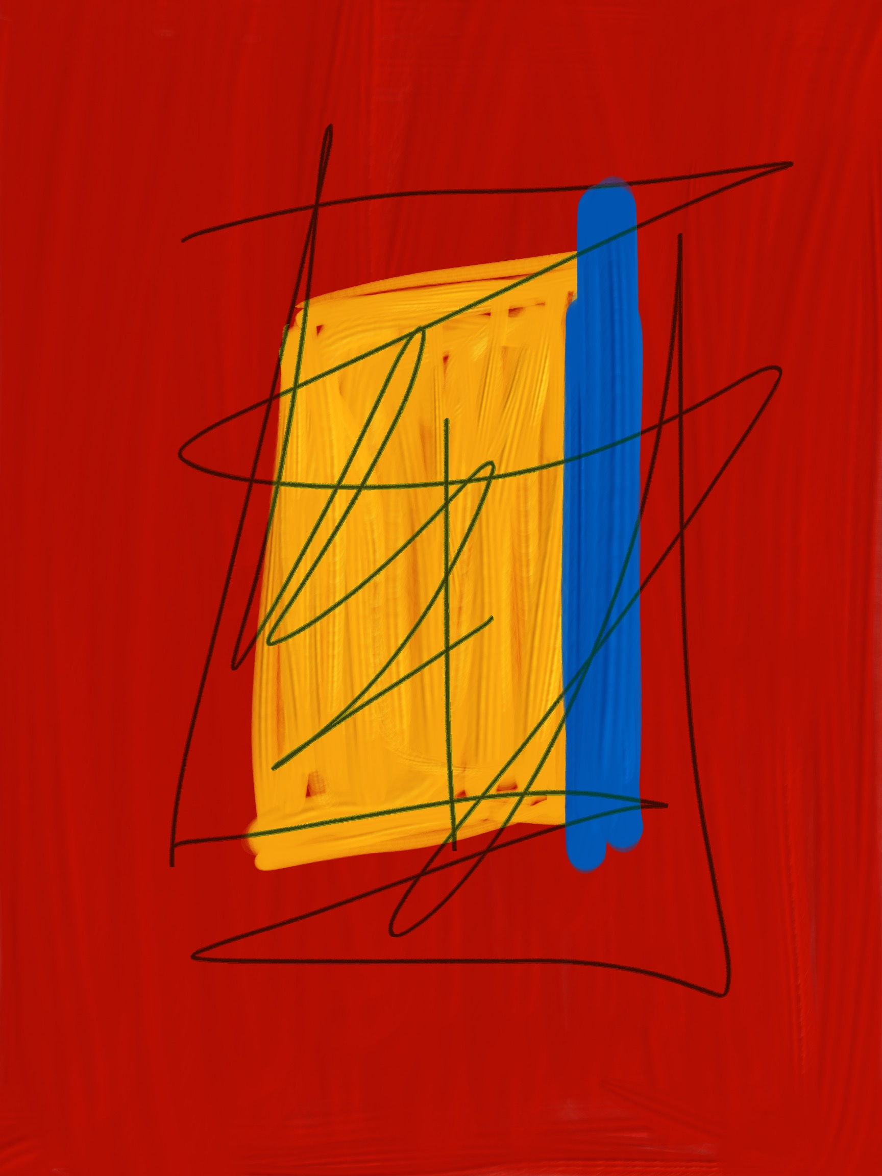 Yellow and Blue on Red Abstract Painting