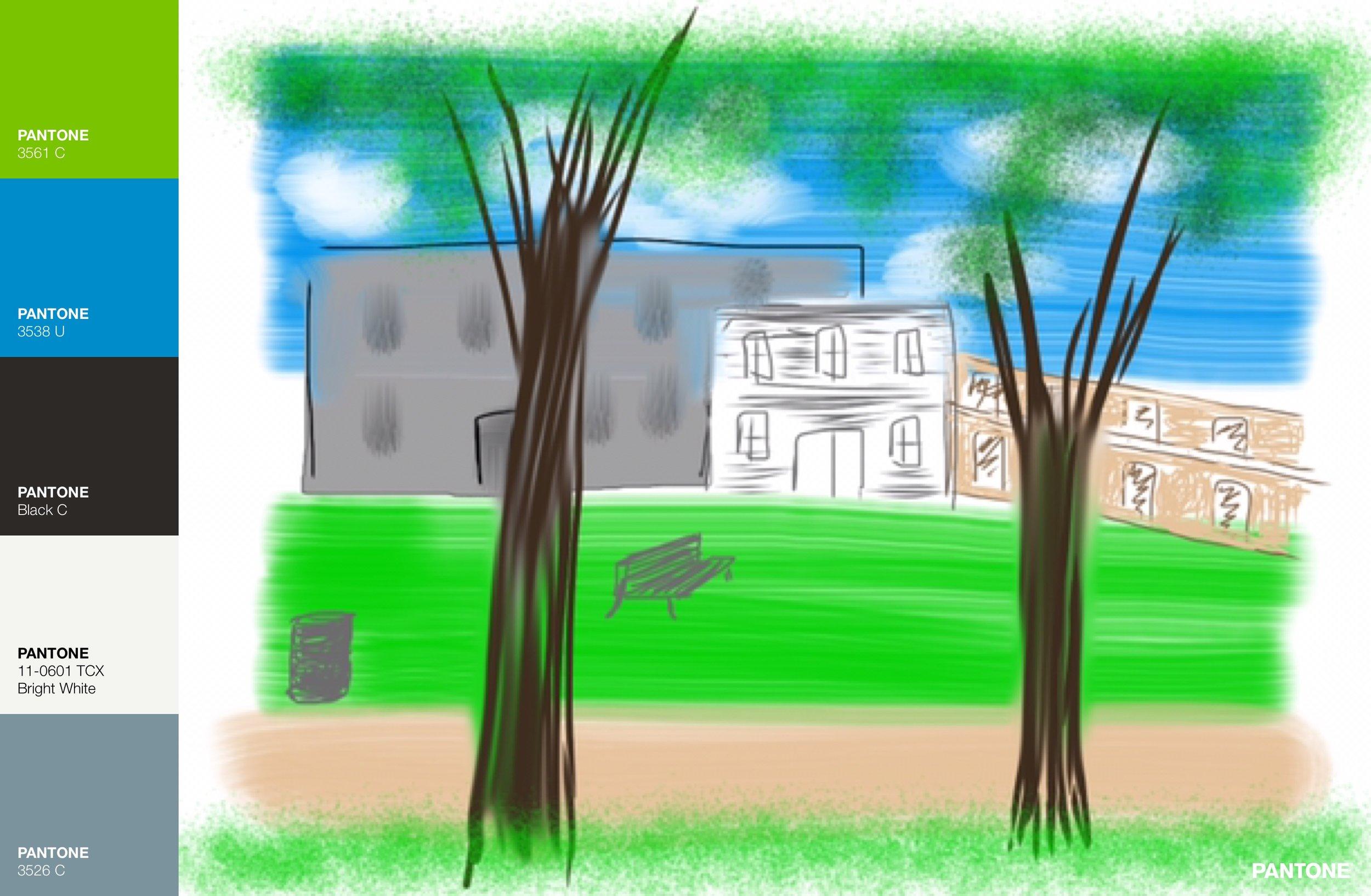 Pantone color palette for Industrial Park painting via Art Studio App.