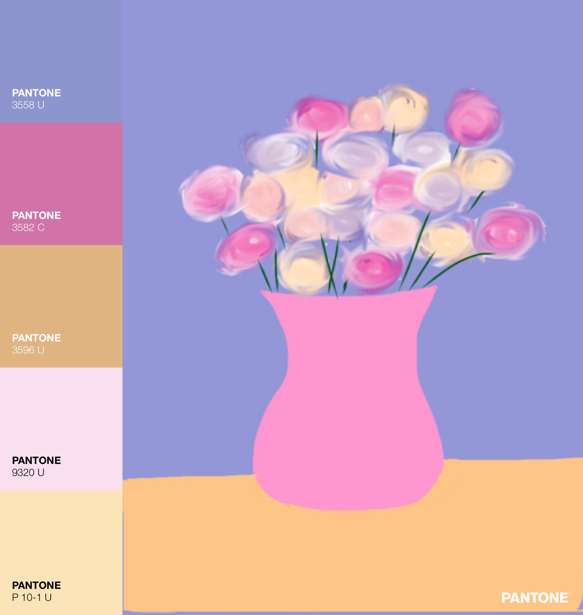Pink Vase of Flowers Painting with Pantone Color Palette