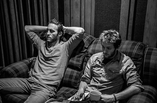 Josh and Zach thoughtfully listening back to some tracks while recording Rosalee - May 2013 #throwbackthursday #rosalee