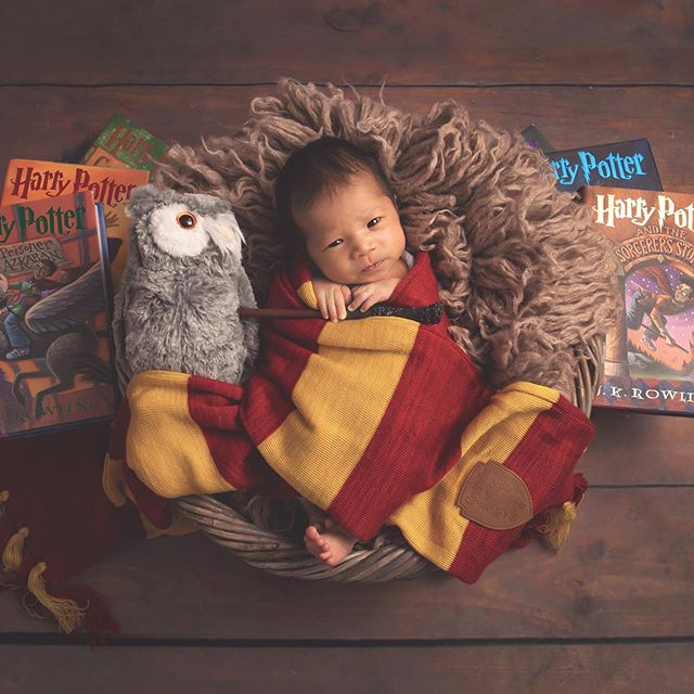 This sure is one cute, little Harry Potter fan! • • #babygirl #newbornart #harrypotter #harrypotterfans #njnewbornphotographer #njbaby #njmom #njbabyphotographer #daniellerileyphotography