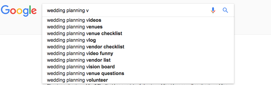 Finding keywords using Google
