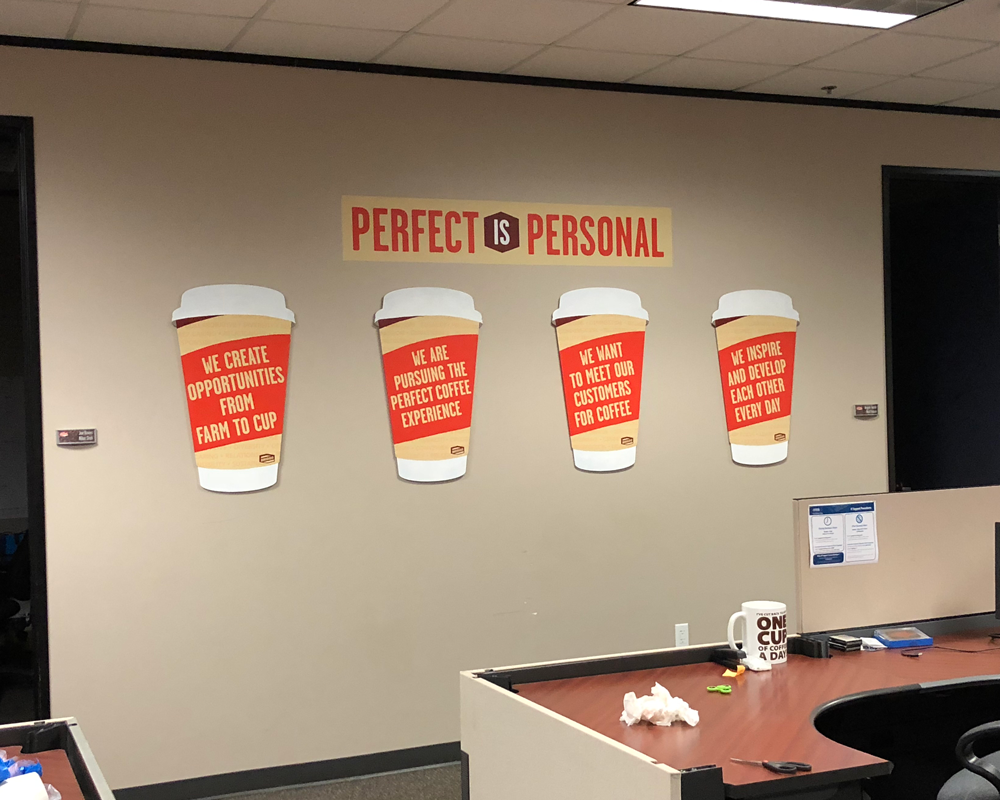 Die-cut Painted Cups with Briggo Core Values