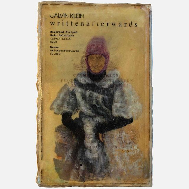 "Title: Dearest (fashion by Calvin Klein and writtenafterwards) Series:   Artist: Tanya Camp Medium: Mixed media on wood Dimensions: 6"" x 10"" . #painting #collage #commentary #fashionasart #pastandpresent #yegarts #yegartist #TheWorksFest #decode #butwhatdoesitmean"