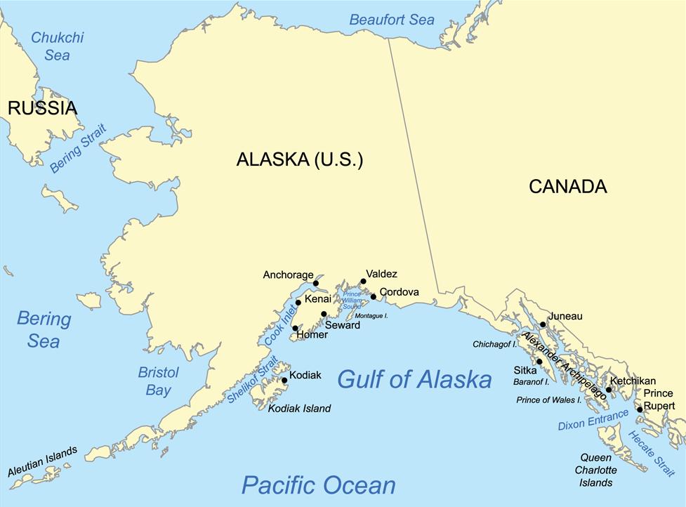 Bristol Bay on map of Alaska