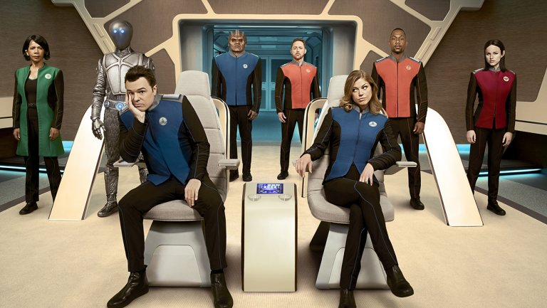 "O'Connell, Michael. ""Fox Sets Fall Premiere Dates, 'Orville' Gets Post-NFL Push.""  The Hollywood Reporter , 22 June 2017, 11:00am, cdn1.thr.com/sites/default/files/imagecache/scale_crop_768_433/2017/05/Orville_group_build_ss12_hires2H2017.jpg."
