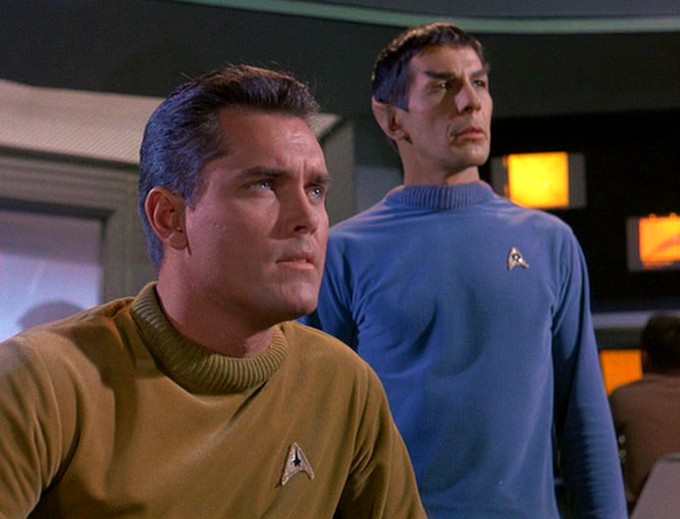 Captain Pike and Lieutenant Spock during  The Cage