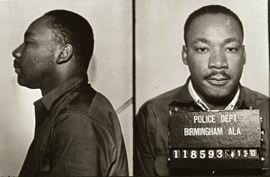 Mug shots of King following his arrest for protesting the treatment of blacks in Birmingham  By Birmingham AL police dept [Public domain], via Wikimedia Commons