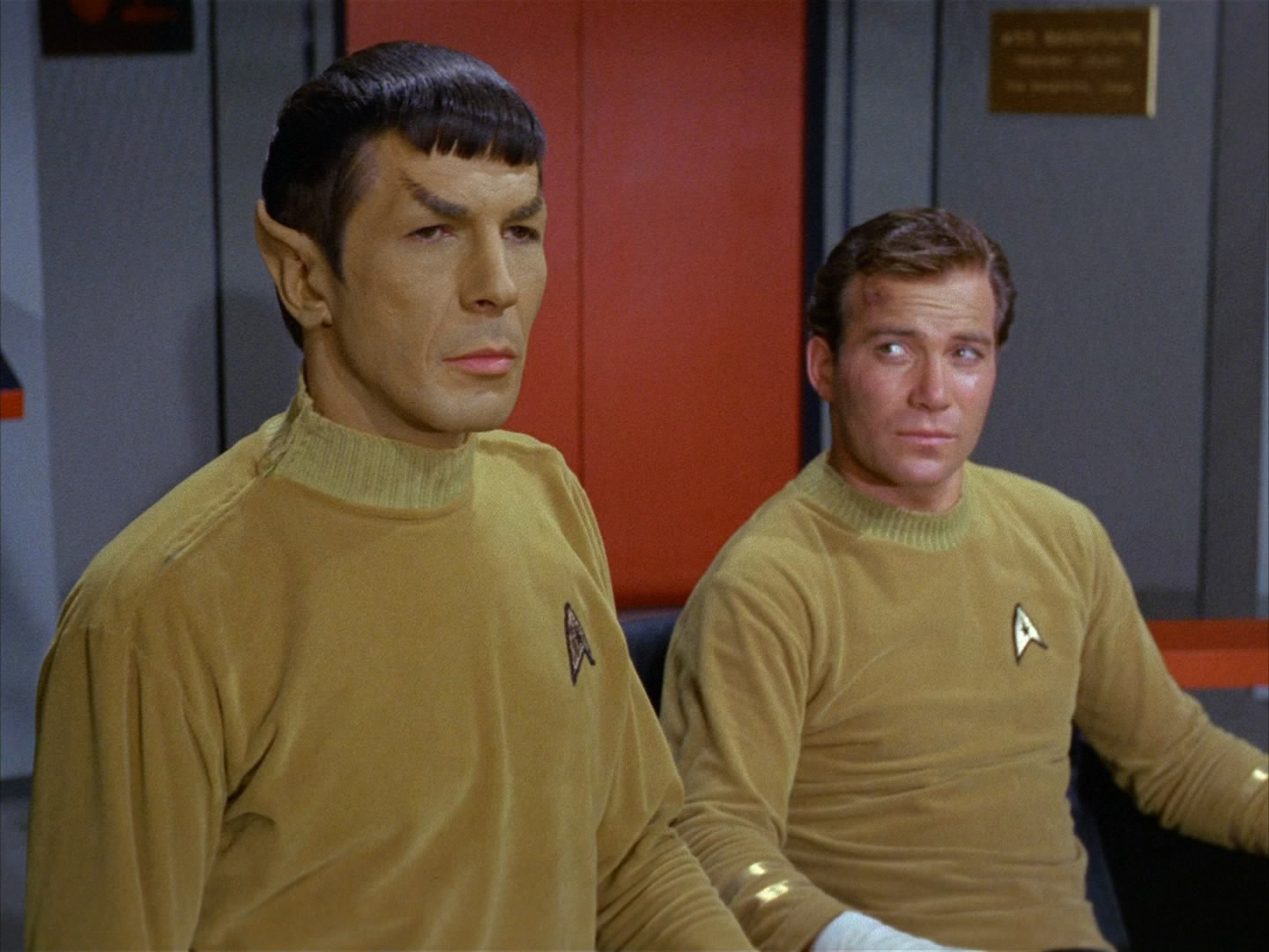 Command division uniforms, male, 2265  Fair Use - this image is copyrighted, but used here under  Fair Use guidelines. Owner/Creator:Paramount Pictures and/or CBS Studios  From left to right, Lieutenant Commander Spock and Captain James Tiberius Kirk  Retreived via http://memory-alpha.wikia.com
