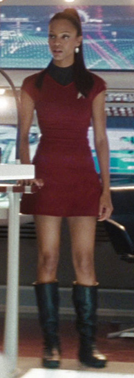 Operations division uniform, female, sleeveless variant, 2258  Fair Use - this image is copyrighted, but used here under  Fair Use guidelines. Owner/Creator:Paramount Pictures and/or CBS Studios  Lieutenant Nyota Uhura  Retreived via http://memory-alpha.wikia.com