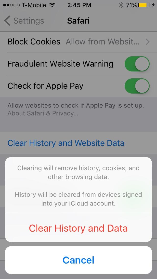 Clear Safari Data