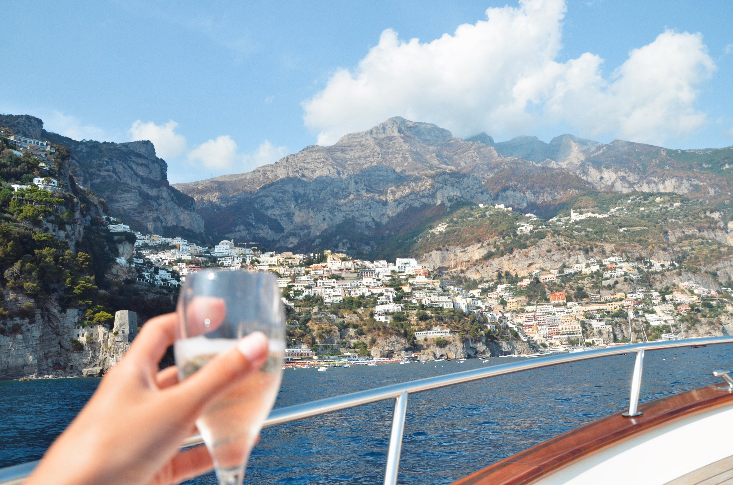 CRUISING ALONG THE COAST WITH PROSECCO IN HAND